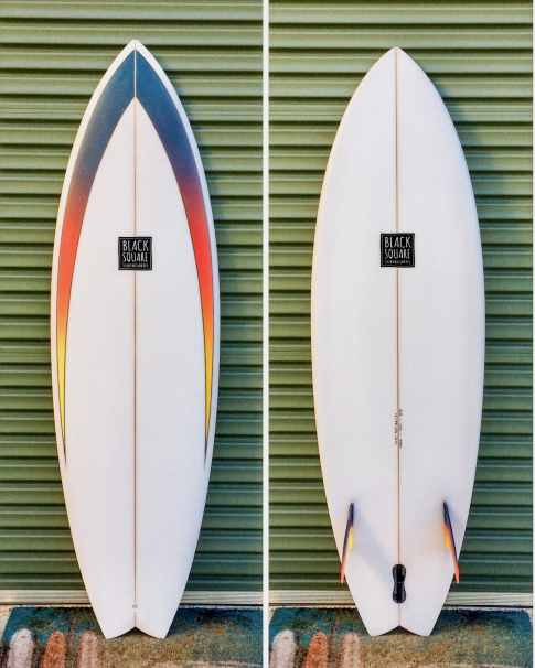 'TWiiN' – 5'10 x 19 3/4 x 2 1/2 – 33.8L ~ glassed on twin fins with plug for trailer fin, foam spray – $895.00