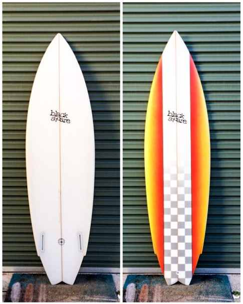 Used – SUPER TWIN – 6'0 x 19 x 2 1/2 ~ futures fin boxes, foam spray – 7/10 condition – $350.00